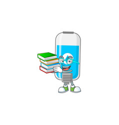A mascot wall hand sanitizer student with book vector