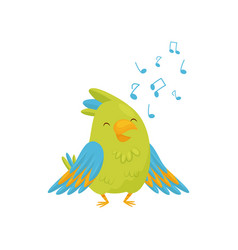 Adorable green parrot singing song cartoon bird vector