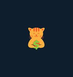 animal pets cat kitty kitten with money cute logo vector image