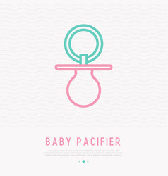 baby pacifier thin line icon vector image