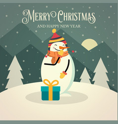 beautiful retro christmas card with snowman vector image
