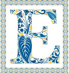 Blue letter E vector