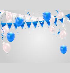 blue white balloons confetti concept design vector image