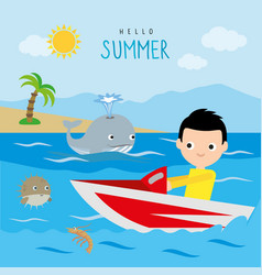 Boy jet ski summer trip beach sea holiday vector