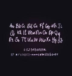 calligraphic neon font modern latin alphabet vector image