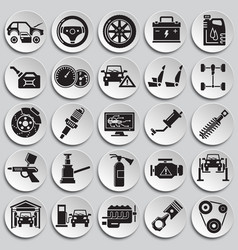 Car service icons set on plates background for vector