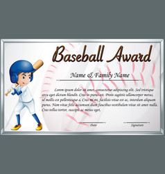 Certificate template for baseball award with vector
