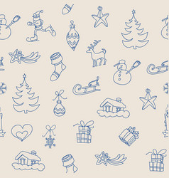 christmas symbols seamless pattern outline icons vector image