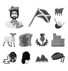 country scotland monochrome icons in set vector image