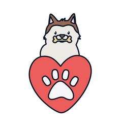 Cute dog with bone heart love paw adoption vector