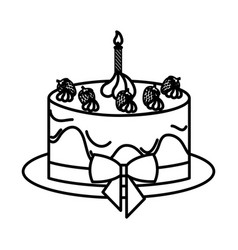Delicious and sweet cake icon vector