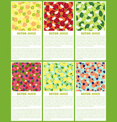 detox juice poster ingredients of refreshing drink vector image