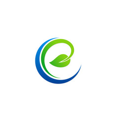 ecology organic green leaf logo vector image