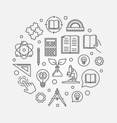 education round in outline vector image