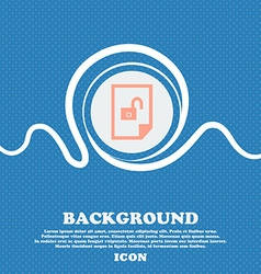 file unlocked icon sign Blue and white abstract vector image