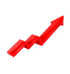 Financial indication arrow up red shiny 3d graph vector