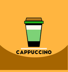 Flat icon design collection cappuccino to go vector