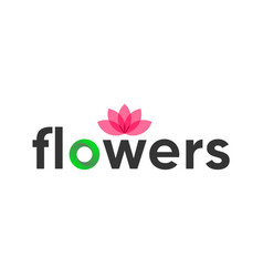 flower logo template emblem with lotus vector image