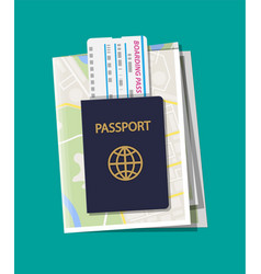 folded paper city map boarding pass and passport vector image