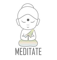 Gautama buddha sitting in lotus position vector