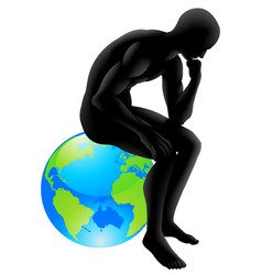 globe thinker concept vector image