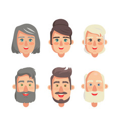 grandparents faces collection vector image