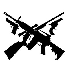 Guns pistols and crossed rifles with 13 stars vector