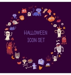 Halloween doodle icons Round border out of items vector