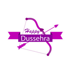 Happy dussehra bow and arrow holiday symbols of vector