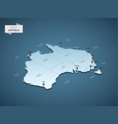 isometric 3d australia map map vector image