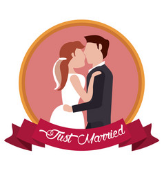 Just married couple embraced label vector