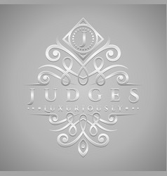 Letter j logo - classic luxurious silver vector