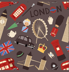 London travel icons english set city flag europe vector