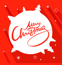 merry christmas lettering red white flat landscape vector image