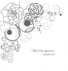 monochrome floral corner vector image