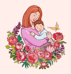 Motherhood color drawing for vector