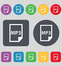 mp3 icon sign A set of 12 colored buttons Flat vector image
