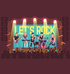 Musicians on concert rock band and pop vector