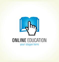 online education logo book hand vector image