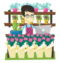 Owner flower shop talking on a phone vector