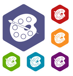 Palette icons set hexagon vector