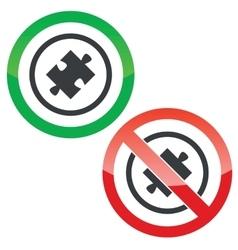 Puzzle permission signs vector