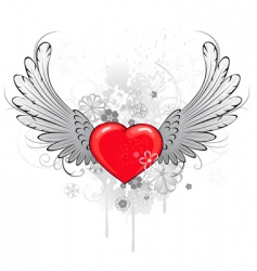 Red heart with wings vector