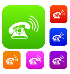 retro phone set collection vector image
