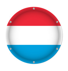round metallic flag of luxembourg with screws vector image