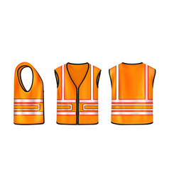 Safety vest front side back view orange jacket vector