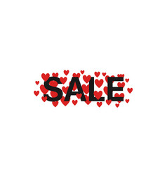 sale text with red hearts vector image