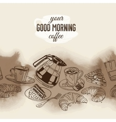 seamless boarder with coffee and sweets vector image vector image