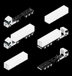 semi trailer truck isometric view isolated on vector image