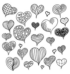 set different hand-drawn hearts icons vector image